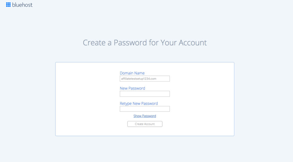 how to start a blog Bluehost create password