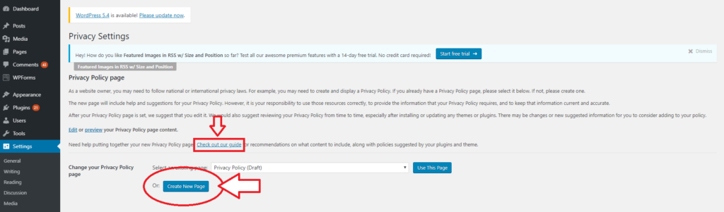 starting a blog to make money wordpress create privacy page