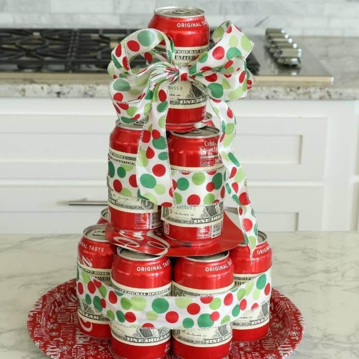 DIY money gift idea coke tree
