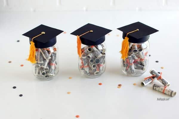 graduation mason jar money gift with hat