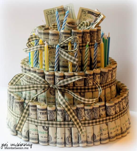 money gift idea birthday cake