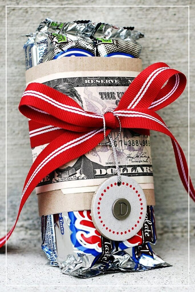 money gift idea candy bar