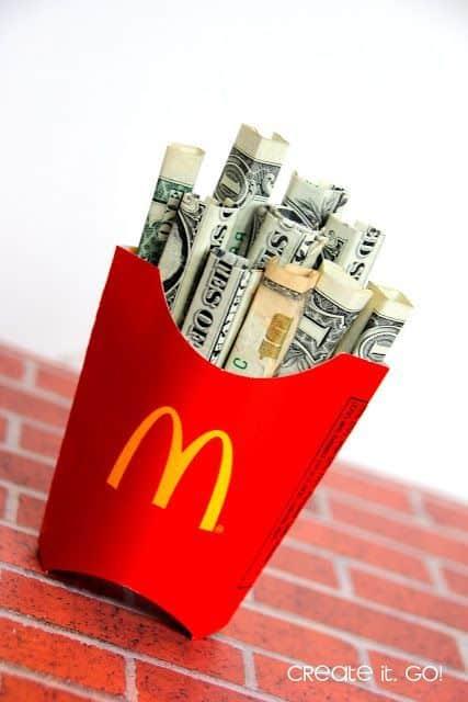 money gift idea mcdonalds fries