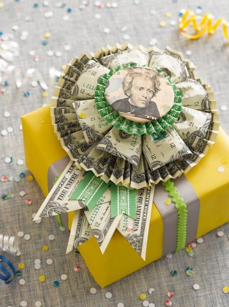 money rosette cash gift idea